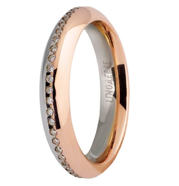très convoité gamme de original de premier ordre rechercher le meilleur Fede in oro bianco e rosa con diamanti UnoAErre FAD298BR